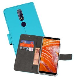 Wallet Cases Hoesje Nokia 3.1 Plus Blauw