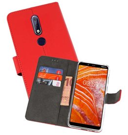 Wallet Cases Hoesje Nokia 3.1 Plus Rood