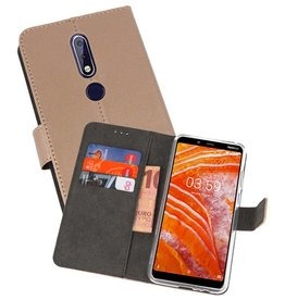 Wallet Cases Hoesje Nokia 3.1 Plus Goud