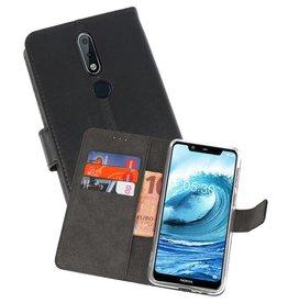 Wallet Cases Hoesje Nokia X5 5.1 Plus Zwart