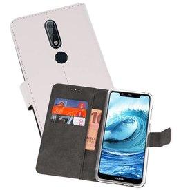 Wallet Cases Hoesje Nokia X5 5.1 Plus Wit