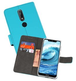 Wallet Cases Hoesje Nokia X5 5.1 Plus Blauw