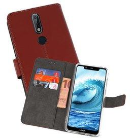 Wallet Cases Hoesje Nokia X5 5.1 Plus Bruin