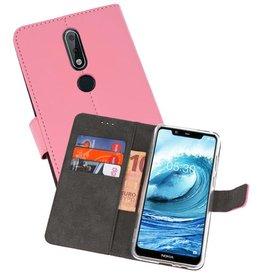 Wallet Cases Hoesje Nokia X5 5.1 Plus Roze