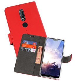 Wallet Cases Hoesje Nokia X6 6.1 Plus Rood
