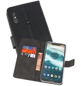 Wallet Cases Hoesje Moto One Power Zwart