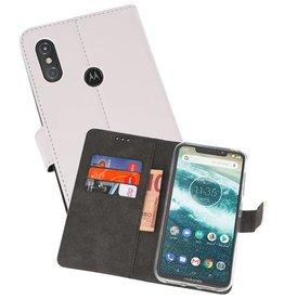 Wallet Cases Hoesje Moto One Power Wit