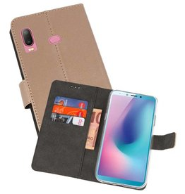 Wallet Cases Hoesje Samsung Galaxy A6s Goud