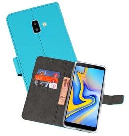 Wallet Cases Hoesje Samsung Galaxy J6 Plus Blauw