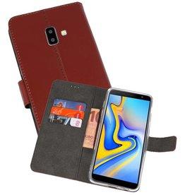 Wallet Cases Hoesje Samsung Galaxy J6 Plus Bruin