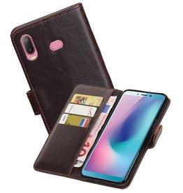 Zakelijke Bookstyle Hoesje Samsung Galaxy A6s Mocca