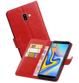 Zakelijke Bookstyle Hoesje Samsung Galaxy J6 Plus Rood