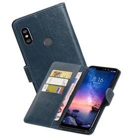 Zakelijke Bookstyle Hoesje XiaoMi Redmi Note 6 Pro Blauw