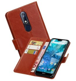 Zakelijke Bookstyle Hoesje Nokia 7.1 Bruin