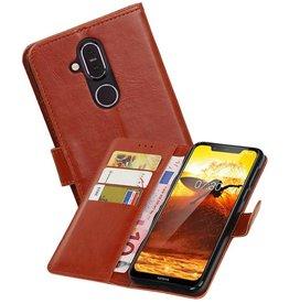 Zakelijke Bookstyle Hoesje Nokia 8.1 Bruin