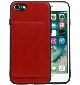 Staand Back Cover 1 Pasjes iPhone 8 / 7 Rood