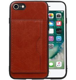 Staand Back Cover 1 Pasjes iPhone 8 / 7 Bruin