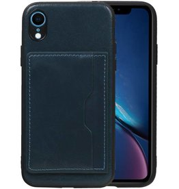 Staand Back Cover 1 Pasjes iPhone XR Navy