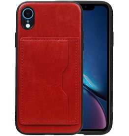 Staand Back Cover 1 Pasjes iPhone XR Rood