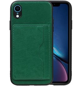 Staand Back Cover 1 Pasjes iPhone XR Groen
