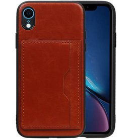 Staand Back Cover 1 Pasjes iPhone XR Bruin