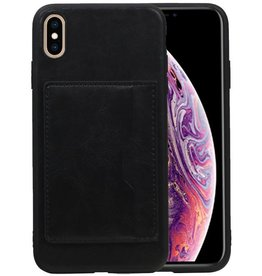 Staand Back Cover 1 Pasjes iPhone XS Max Zwart