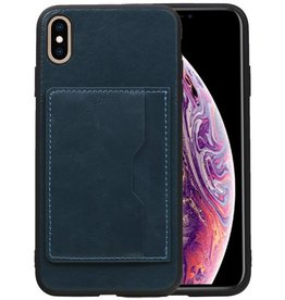 Staand Back Cover 1 Pasjes iPhone XS Max Navy