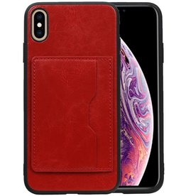 Staand Back Cover 1 Pasjes iPhone XS Max Rood