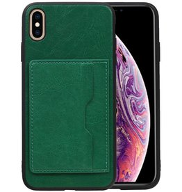 Staand Back Cover 1 Pasjes iPhone XS Max Groen