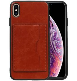 Staand Back Cover 1 Pasjes iPhone XS Max Bruin