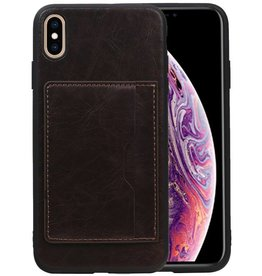 Staand Back Cover 1 Pasjes iPhone XS Max Mocca