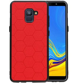 Hexagon Hard Case Samsung Galaxy A8 Plus 2018 Rood