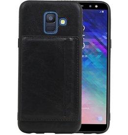Staand Back Cover 1 Pasjes Galaxy A6 2018 Zwart