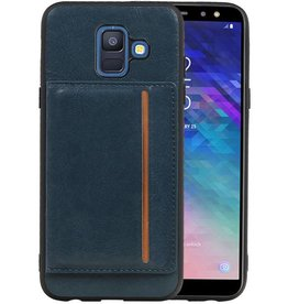 Staand Back Cover 1 Pasjes Galaxy A6 2018 Navy