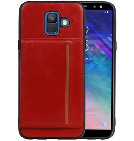Staand Back Cover 1 Pasjes Galaxy A6 2018 Rood