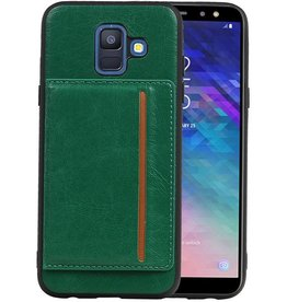 Staand Back Cover 1 Pasjes Galaxy A6 2018 Groen