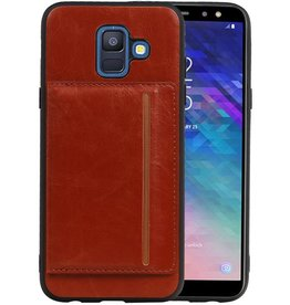 Staand Back Cover 1 Pasjes Galaxy A6 2018 Bruin