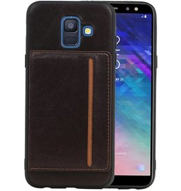 Staand Back Cover 1 Pasjes Galaxy A6 2018 Mocca