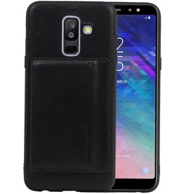 Staand Back Cover 1 Pasjes Galaxy A6 Plus 2018 Zwart