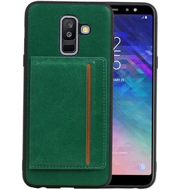 Staand Back Cover 1 Pasjes Galaxy A6 Plus 2018 Groen