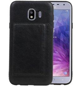 Staand Back Cover 1 Pasjes Galaxy J4 Zwart