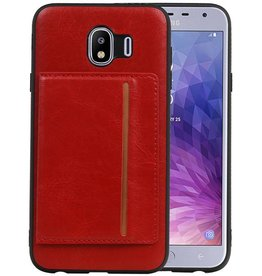 Staand Back Cover 1 Pasjes Galaxy J4 Rood