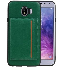 Staand Back Cover 1 Pasjes Galaxy J4 Groen