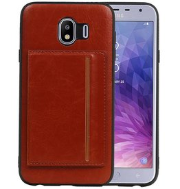 Staand Back Cover 1 Pasjes Galaxy J4 Bruin