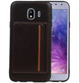 Staand Back Cover 1 Pasjes Galaxy J4 Mocca