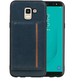 Staand Back Cover 1 Pasjes Galaxy J6 Navy