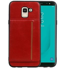 Staand Back Cover 1 Pasjes Galaxy J6 Rood