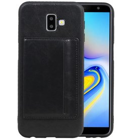 Staand Back Cover 1 Pasjes Galaxy J6 Plus Zwart