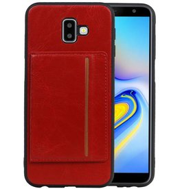 Staand Back Cover 1 Pasjes Galaxy J6 Plus Rood