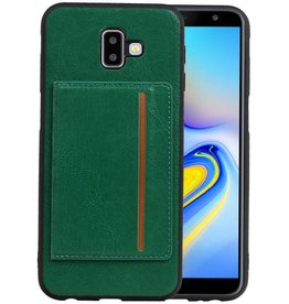 Staand Back Cover 1 Pasjes Galaxy J6 Plus Groen
